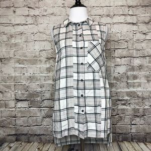 Topshop Sleeveless Checked Plaid Button Shirt 4